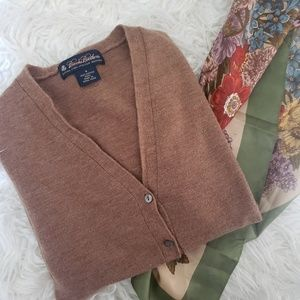 BROOKS BROTHERS MERINO CARDIGAN BROWN TAN SMALL